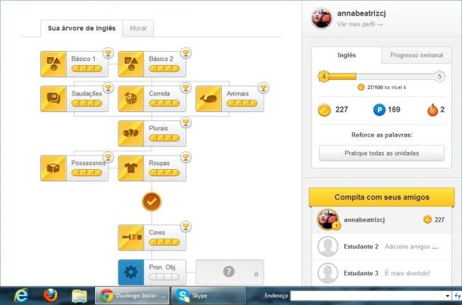 Duolingo Lições concluidas