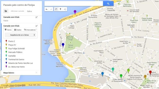 mapa passeio centro de florianópolis - crédito google